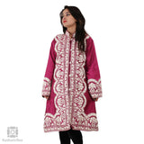 Jam Purple Clover Embroidered Silk Jacket