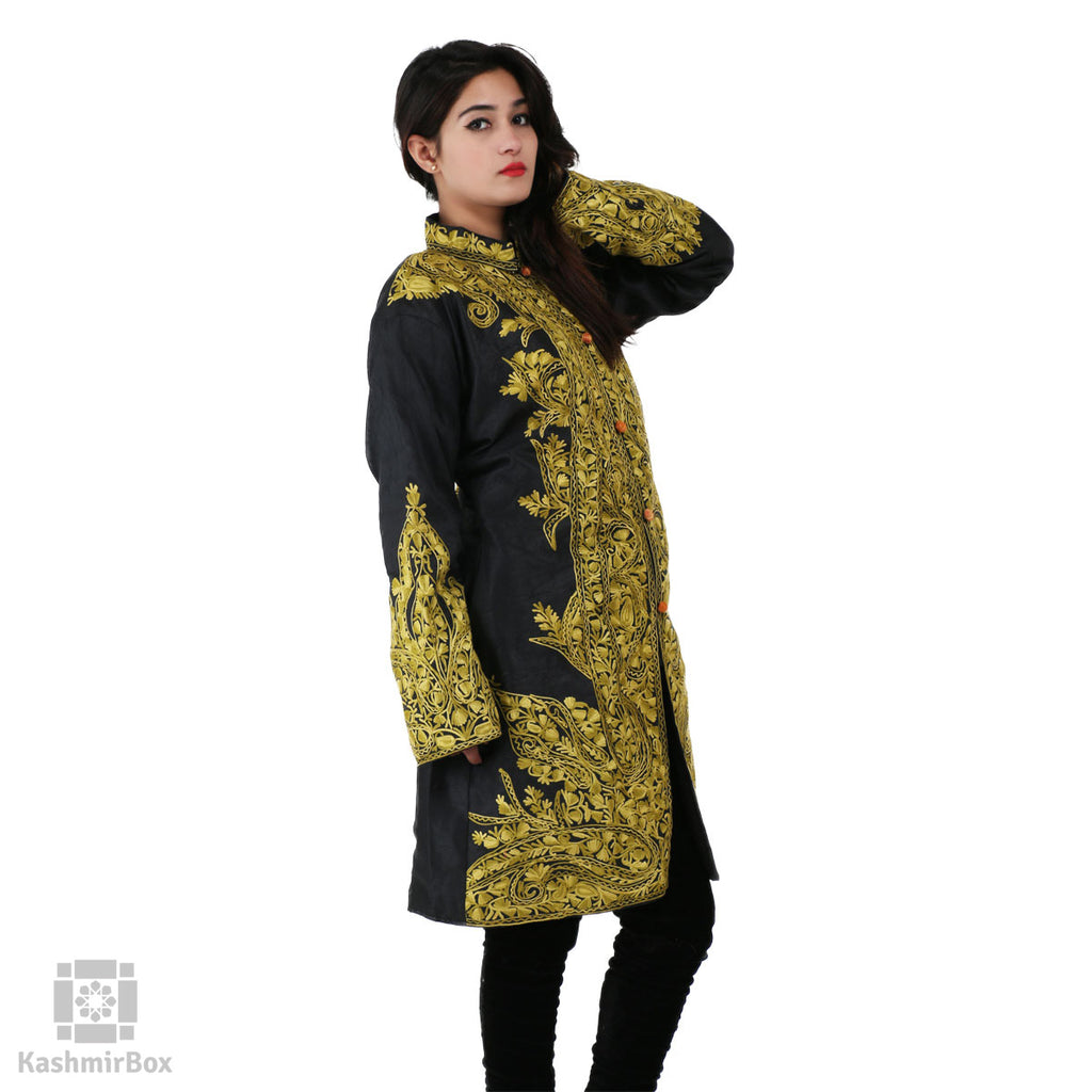 Black Green Paisley Embroidered Silk Jacket - KashmirBox.com