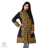 Black Flowery Garland Embroidered Silk Jacket