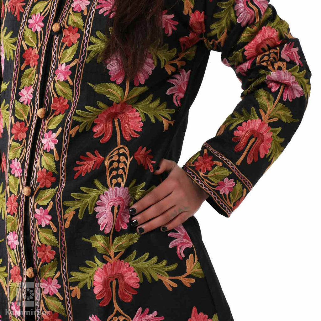 Bold Flowers Embroidered Silk Jacket