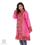 Bubblegum Pink Embroidered Silk Jacket - KashmirBox.com
