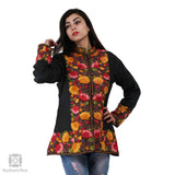 Black Floral Short Silk Jacket