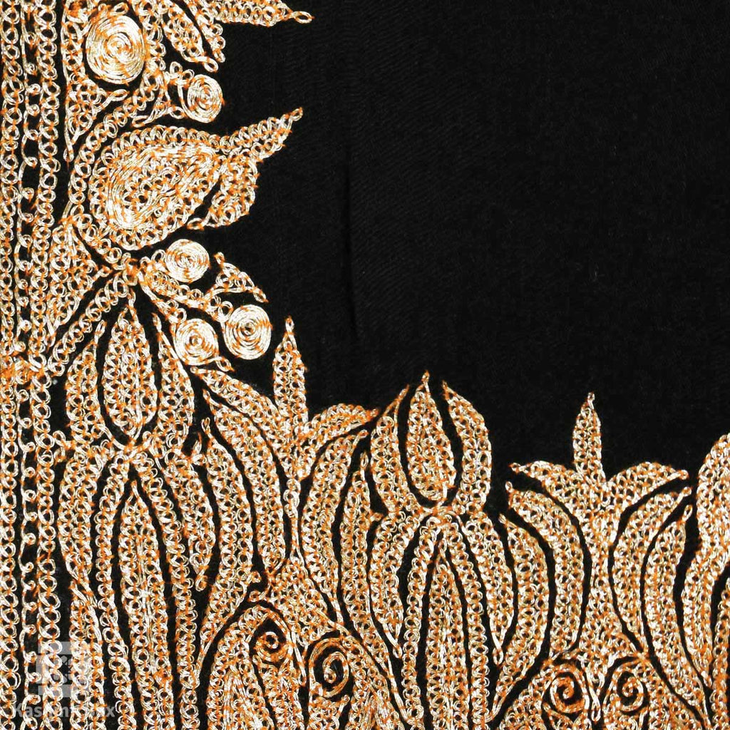 Black Grey Paisley Tilla Embroidered Pashmina Shawl