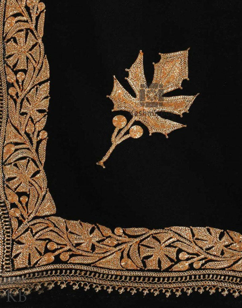 Black Bordered Chinar Tilla Embroidered Pashmina Stoles