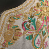 White Cordate Tilla Embroidered Wool Phiran