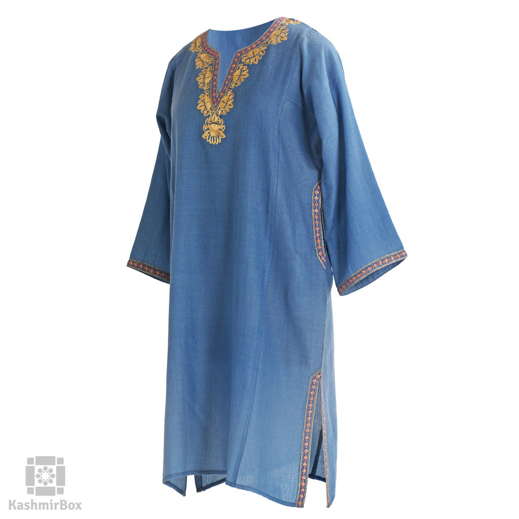 Aegean Blue Tilla Embroidered Wool Phiran