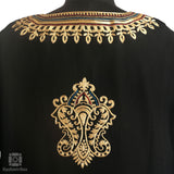 Ebony Black Tilla Embroidered Wool Phiran - Kashmir Box