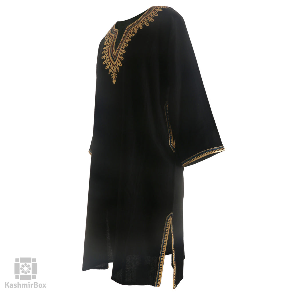 Ebony Black Tilla Embroidered Wool Phiran - KashmirBox.com