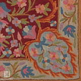 Sangria Maroon Floral Handmade Chainstitch Rug