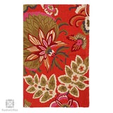 Crimson Bouquet Handmade Chainstitch Rug