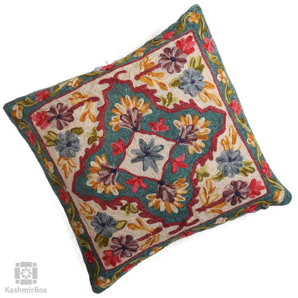 Green Diamond Flowery Cushion Cover(Set of 3)