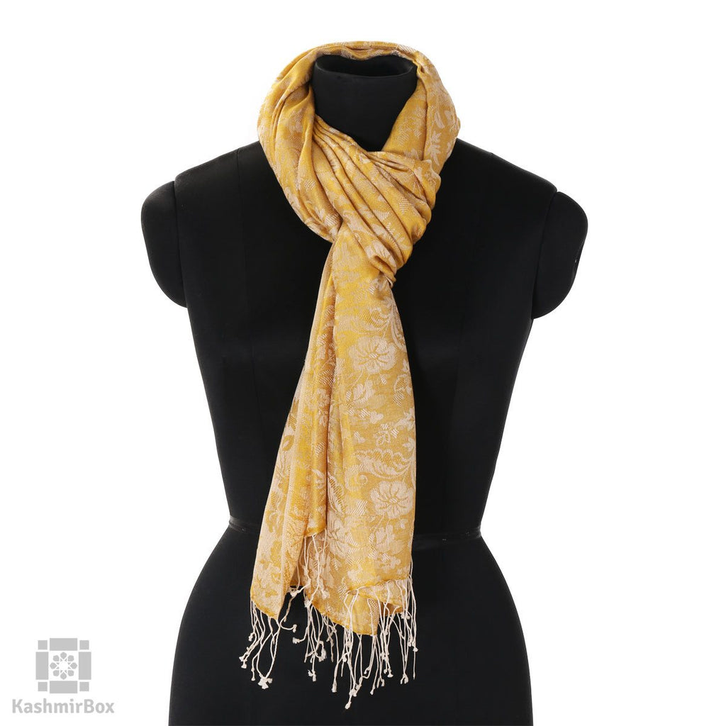 Pineapple Yellow Floral Silk Stole