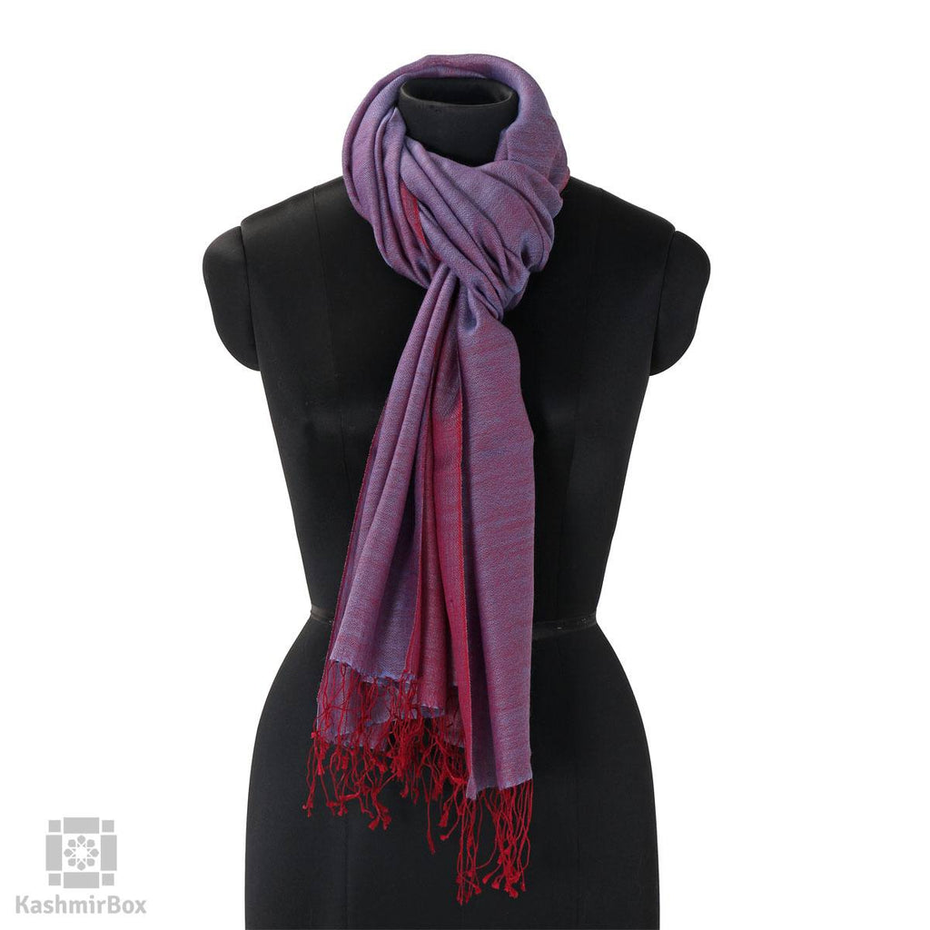Purple Magenta Reversible Silk Wool Stole
