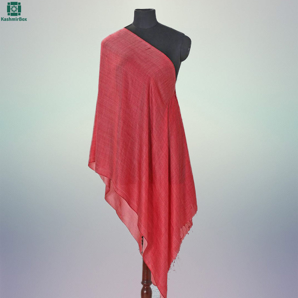 Candy Red Solid Silk Stole