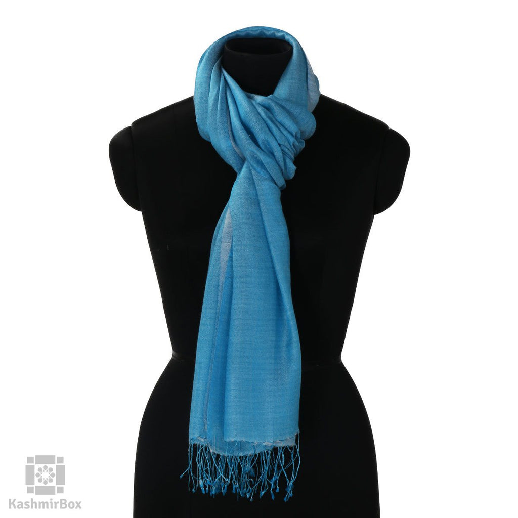 Turquoise Blue Solid Silk Stole