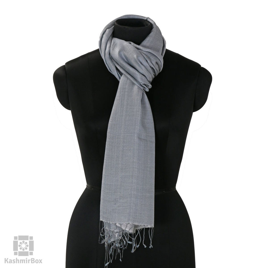 Stone Blue Solid Silk Stole