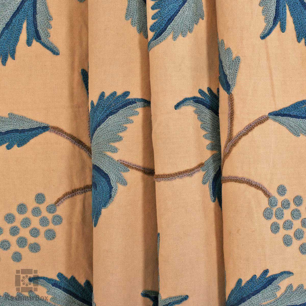 Whitish Blue Flowery Crewel Embroidered Curtain - KashmirBox.com