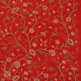 Scarlet Flowered Crewel Embroidered Curtain