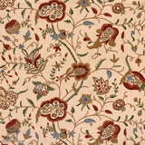 Beige Brazen Flower Crewel Embroidered Curtain