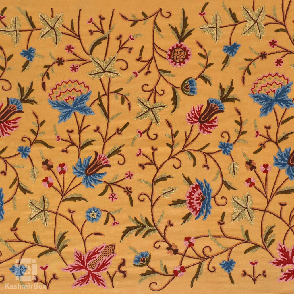 Mustard Vineal Crewel Embroidered Curtain - Kashmir Box