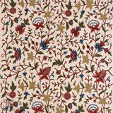 Pearl White Flowered Embroidered Curtain - Kashmir Box