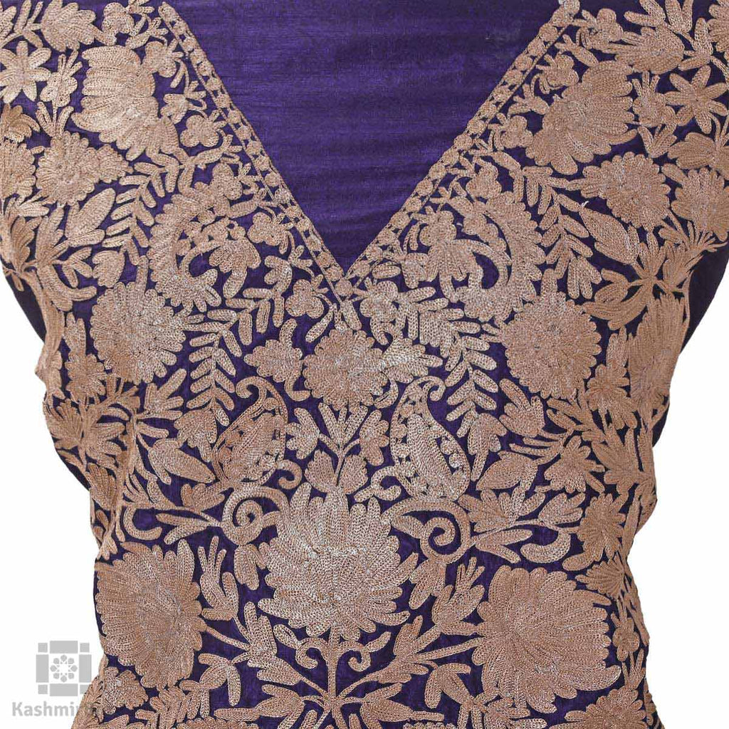 Eggplant Purple Flowery Tilla Embroidered Silk Suit