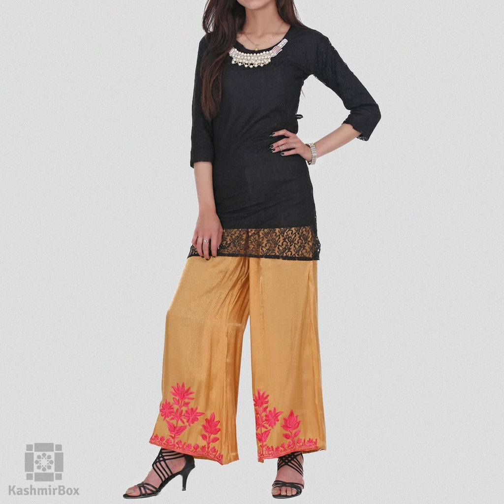 Gold Floral Embroidered Silk Palazzo Pants