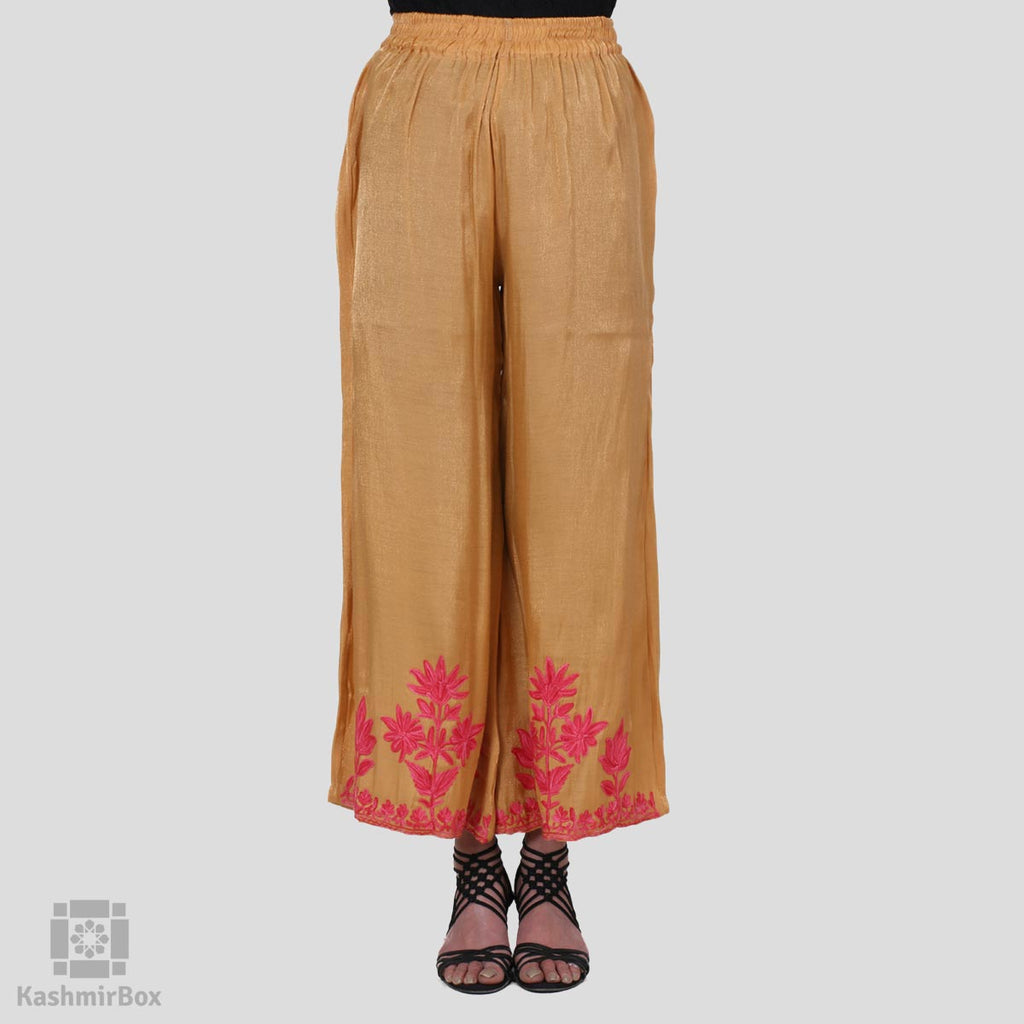 Gold Floral Embroidered Silk Palazzo Pants - Kashmir Box