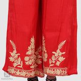 Candy Red Floral Embroidered Palazzos - Kashmir Box