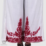 Pearl White Marigold Flowered Silk Palazzo Pants