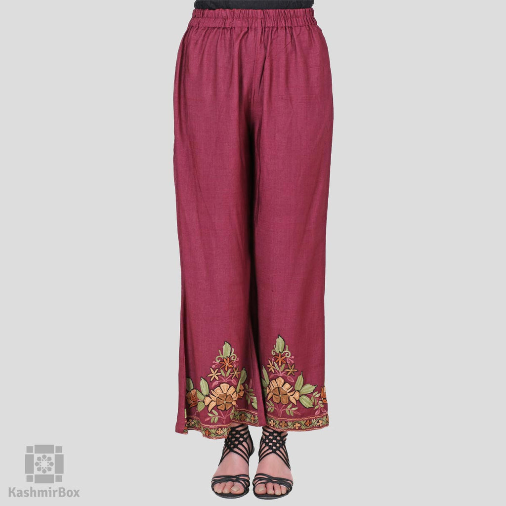 Deep Wine Floral Flared Embroidered Cotton Palazzos - Kashmir Box
