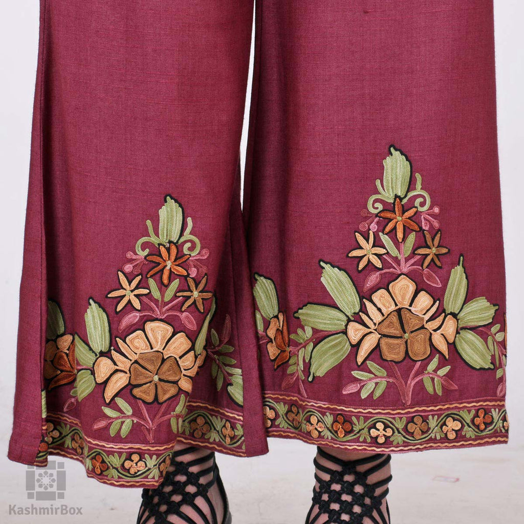 Deep Wine Floral Flared Embroidered Cotton Palazzos
