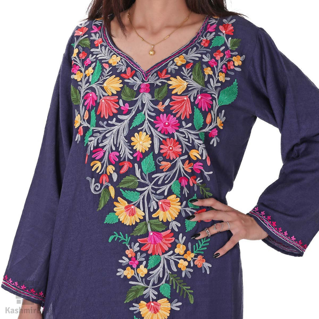 Navy Blue Aari Lily Flower Embroidered Crush Cotton Kurti - Kashmir Box