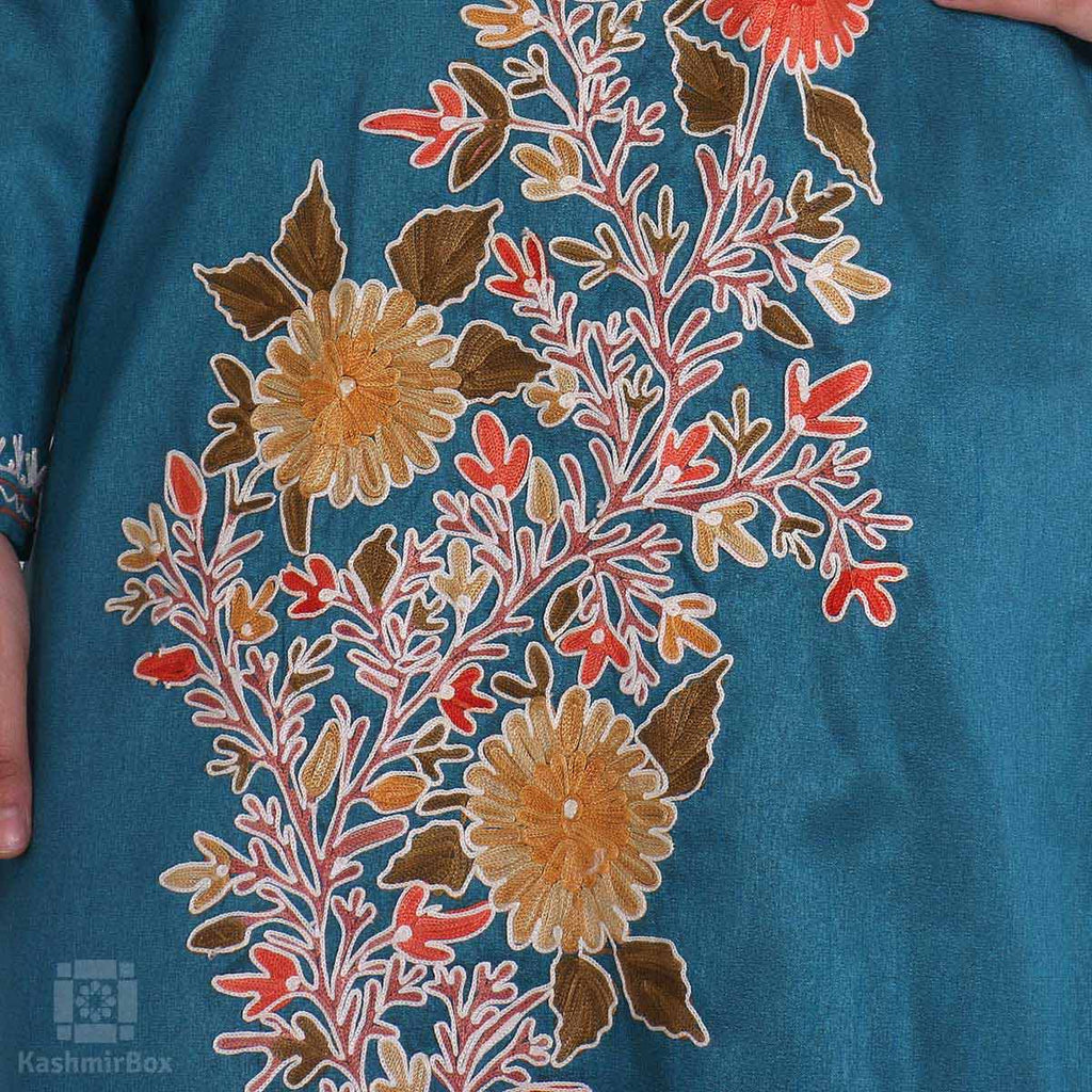 Turquoise Flower Bushed Embroidered Silk Kurti - KashmirBox.com