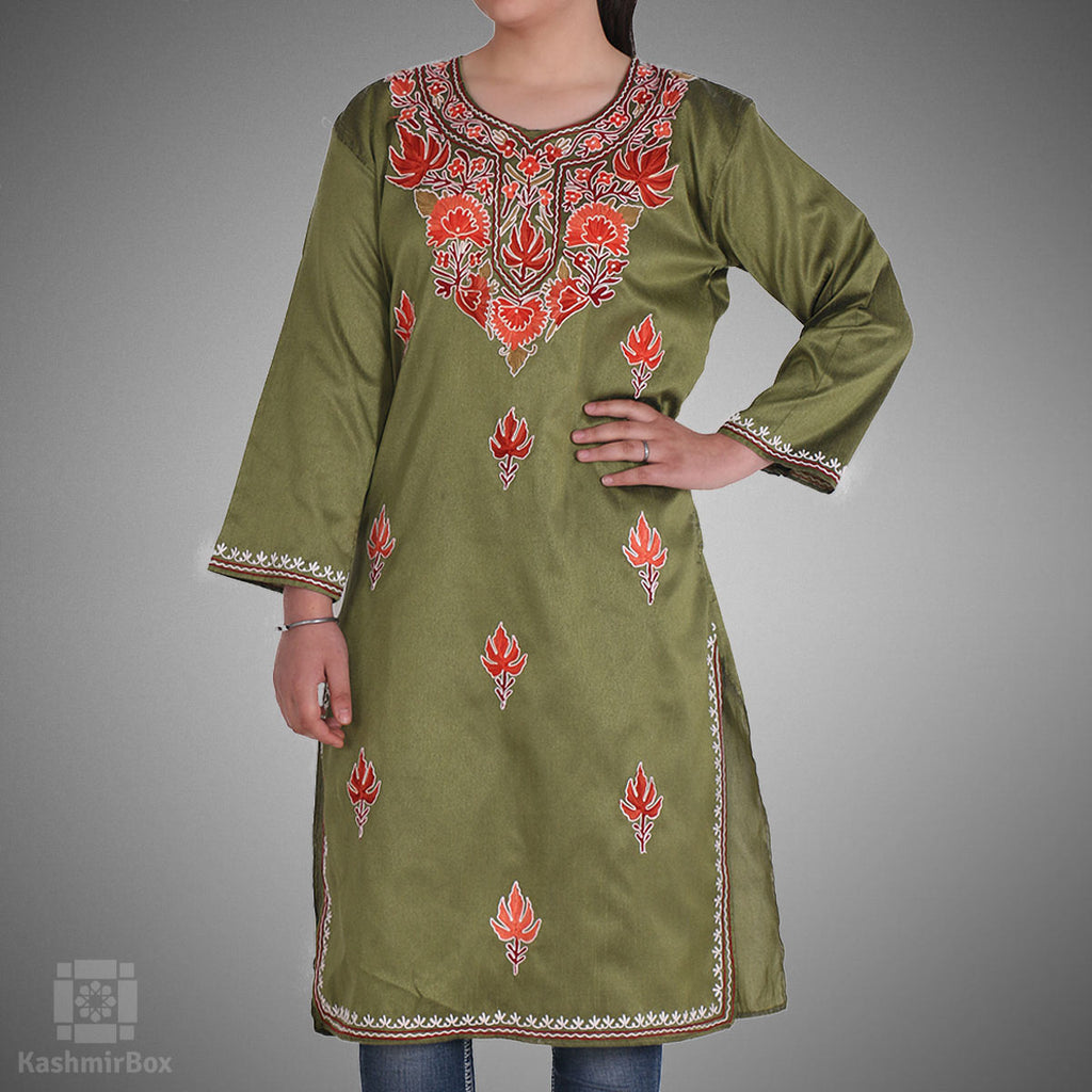 Olive Green Chinar Embroidered Silk Kurti