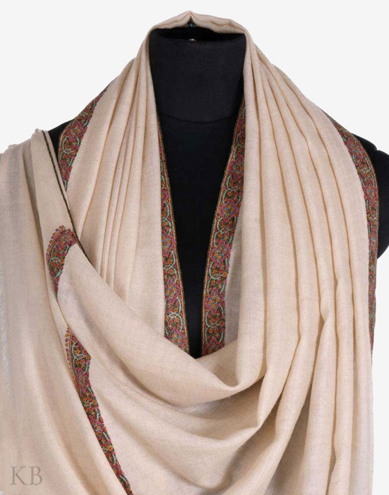 GI Off White Border Embroidered Cashmere Pashmina Shawl