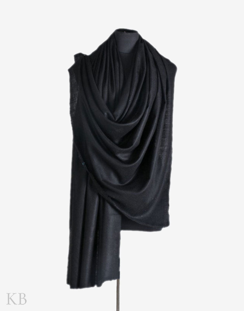 GI Midnight Black Solid Pashmina Shawl - Kashmir Box