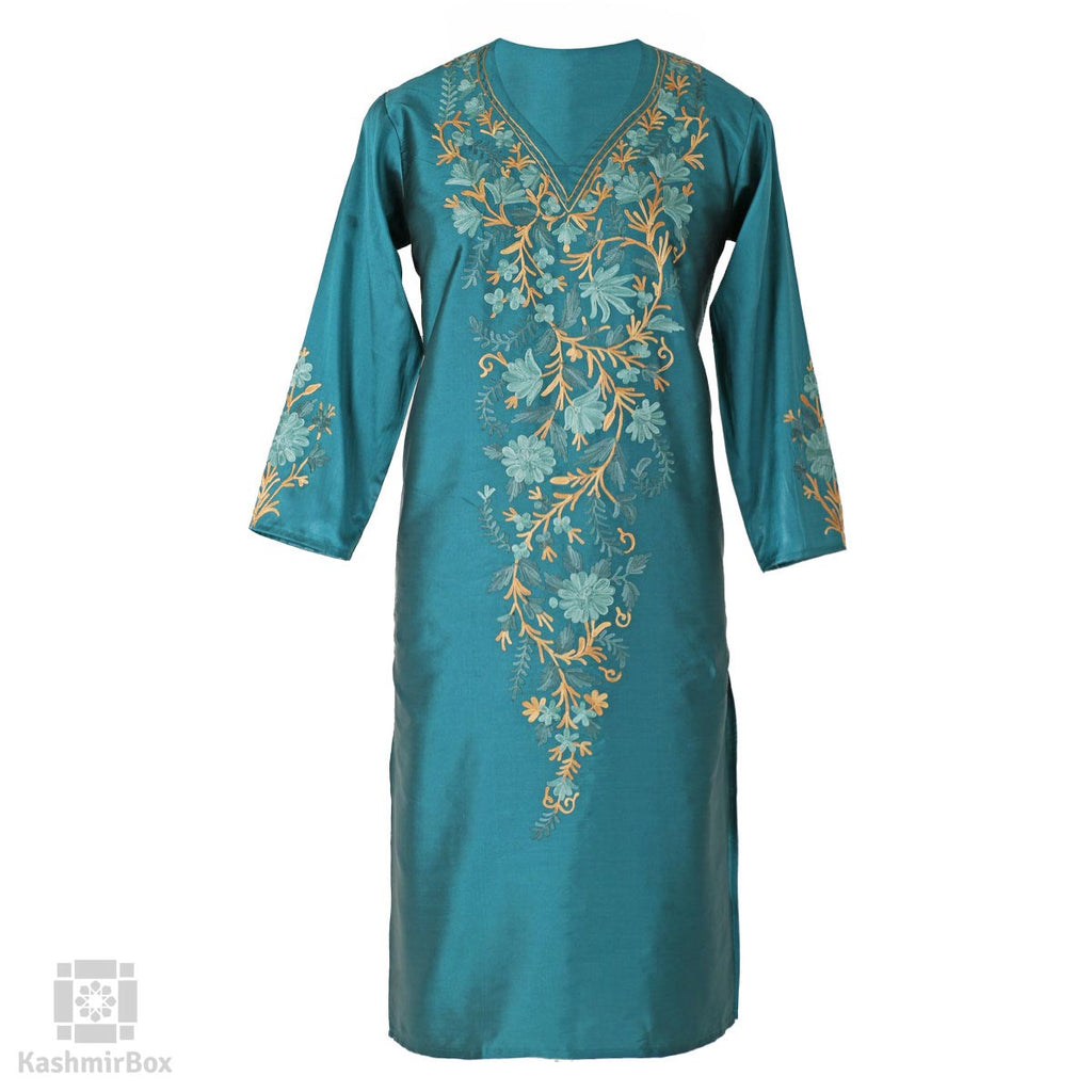 Myrtle Blue Flower Essence Silk Kurti