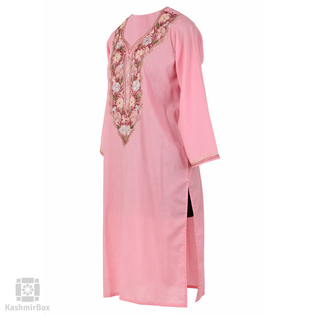 Baby Pink Flower Aari Cotton Kurti