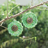 Grassy Green Studded Crochet Earrings