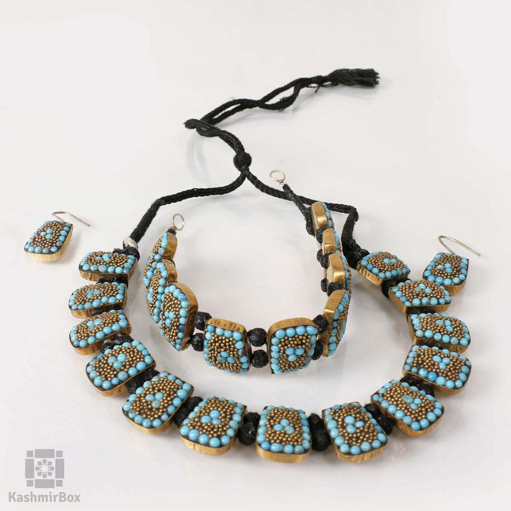 Handmade Beaded Blue Necklace Set