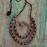 Reddened Blue Bead Framed Necklace Set