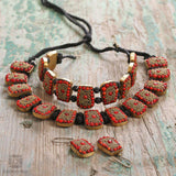 Red Bead Handmade Necklace Set