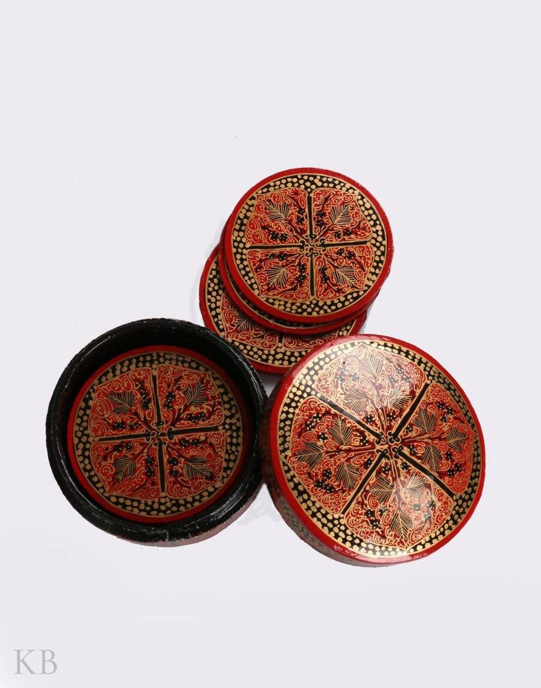 Red Chinar Paper Mache Coaster Set