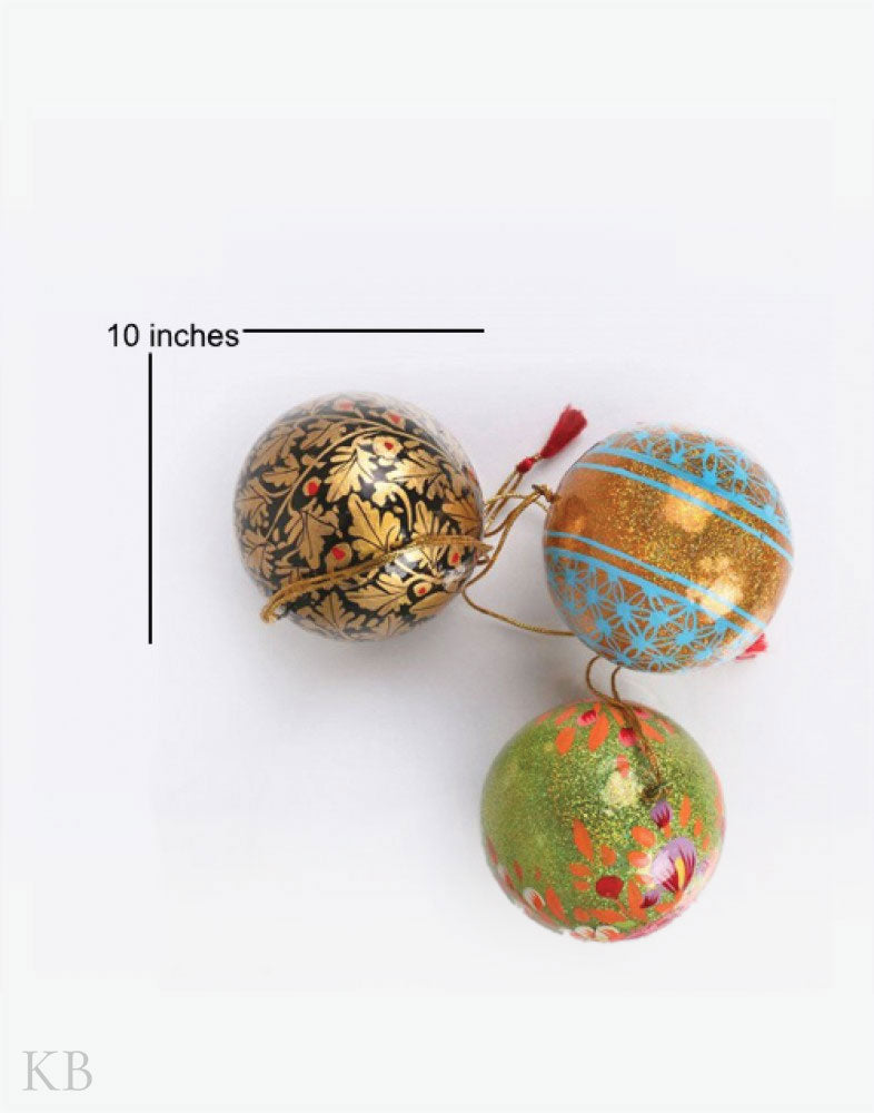 Assorted Paper Mache Ball Hangings (Set of 3)
