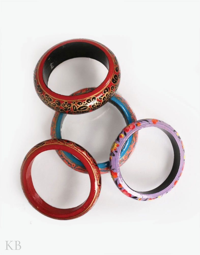 Gul Assorted Paper mache Bangles (Set of 4) - Kashmir Box