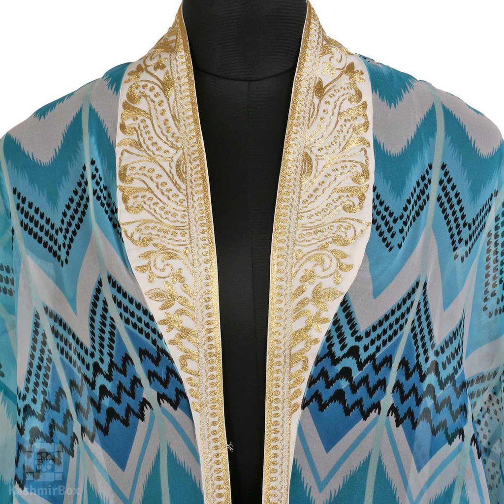 Blue Beachy Zari Collared Shrug