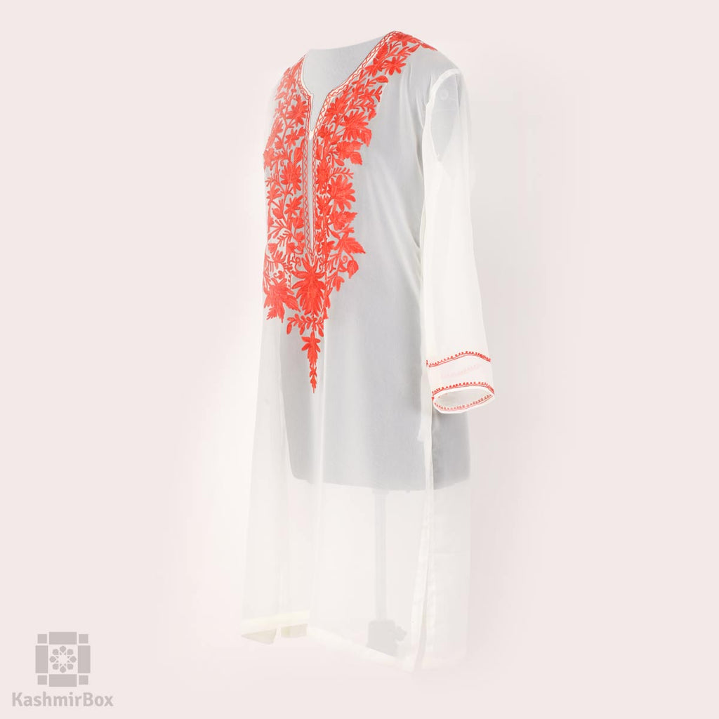 White Aari Clovered Georgette Kurti - Kashmir Box