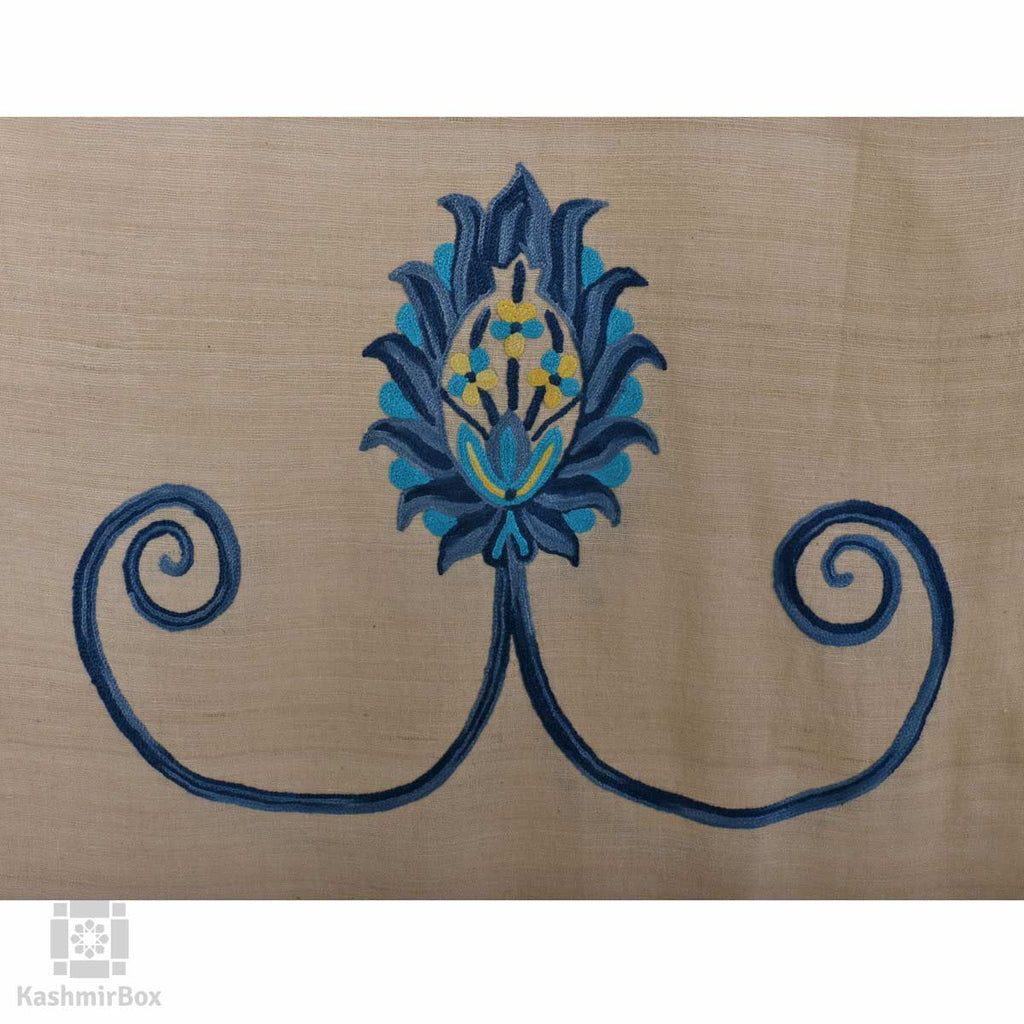 Off White Budding Hand Embroidered Silk Stole