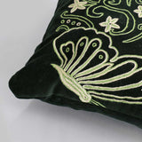 Deep Green Silken Velvet Handmade Aari Cushion Cover